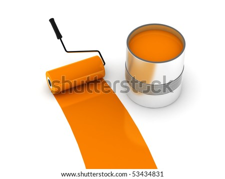 Orange paint. Roller and steel can isolated on white background. High quality 3d render.