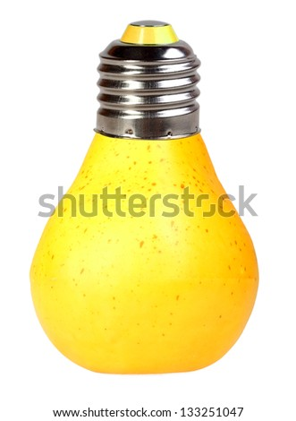 Orange pear as bulb-form lamp. Isolated on white background. Art design. Studio photography.