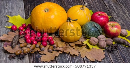 Orange pumpkins and red apples on autumn leaves. Wooden background.