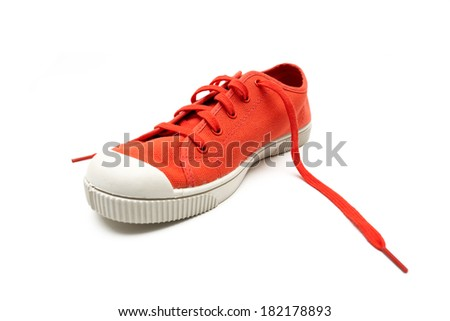 orange sneaker on a white background