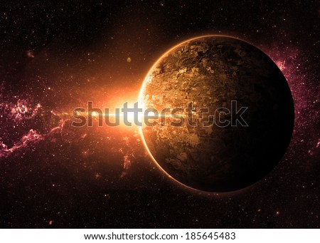 Orange Sunrise over Lone Planet - Elements of This Image Furnished By NASA