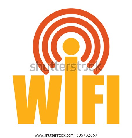 Orange Wifi Infographics Flat Icon, Sign Isolated on White Background