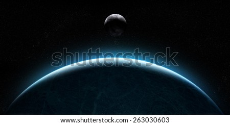 Orbital view on an extraterrestrial Earth-like planet with atmosphere and a moon-like planet rising behind it