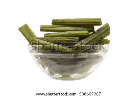 Organic Cooked Boiled Cardoons (also known as artichoke thistle) Vegetable in glass bowl isolated on white background
