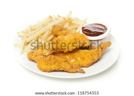 Organic Crispy Chicken Strips on a background