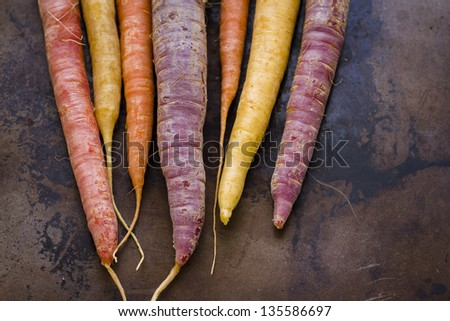 Organic rainbow carrots from the local farm.
