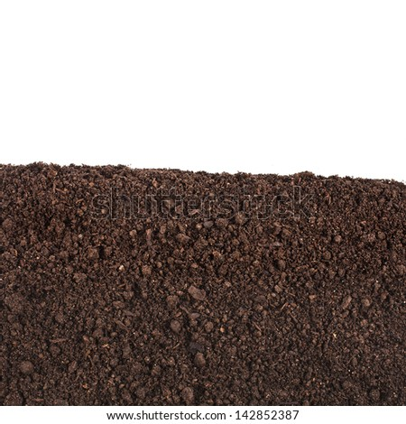 organic soil close up surface isolated on white background