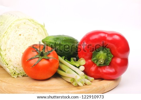 organic vegetables over light background on Food and Drink theme