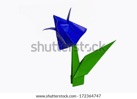 Origami Blue flower, tulip, isolated on white