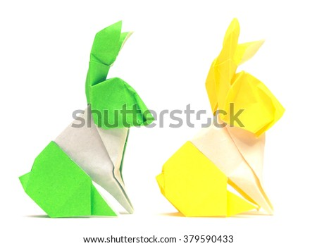Origami Easter rabbit isolated on white background