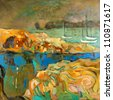 Original abstract oil painting of boats,cliffs and sea on canvas.Modern Impressionism - stock photo