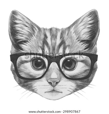Original Drawing Fennec Fox Glasses Isolated Stock ...