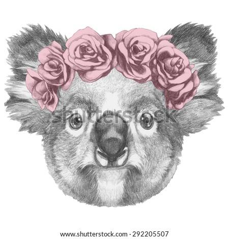 Portrait Sloth Floral Head Wreath Handdrawn Stock ...
