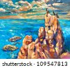 Original oil painting of ocean(sea) cliffs and birds on canvas.Modern Impressionism - stock photo