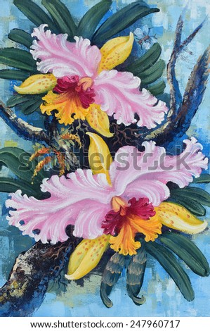 Original oil painting on canvas - Thai forest orchids