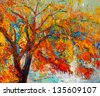 Original oil painting showing beautiful Autumn tree. Modern Impressionism - stock photo