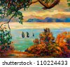 Original oil painting showing beautiful lake,sunset landscape.Forest and sky. Modern Impressionism - stock photo