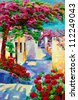 Original oil painting showing Blue churches and white houses of Oia village at Santorini island with tree and flowers. Greece.Modern Impressionism - stock photo