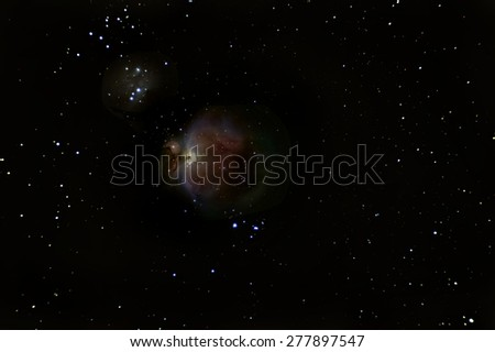 Orion Nebula deep space, beautiful night sky  The Orion Nebula is a diffuse nebula situated in the Milky Way south of Orion's Belt in the constellation of Orion