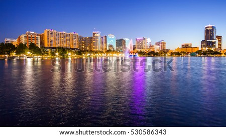 Orlando, Florida cityscape skyline at night with city lights