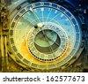 Orloj astronomical clock in Prague in Czech Republic. - stock photo