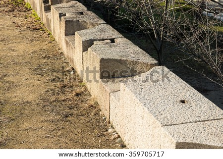 OSAKA, JAPAN - DECEMBER 5, 2015: Firing platform of Osaka castle wall.