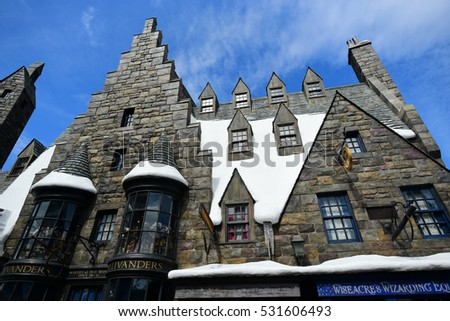 OSAKA, JAPAN - OCTOBER 13, 2016: Ollivanders Magic Wand Shop at Universal Studios Japan (USJ). located in Osaka. Magic wand and Theme Hogwarts School of Witchcraft and Wizardry in Harry Potter.