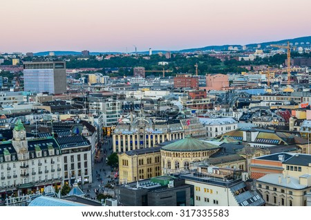 Oslo, Norway. Aerial view of Oslo from the City hall (Radhuset) tower. Taken on 2015/09/11