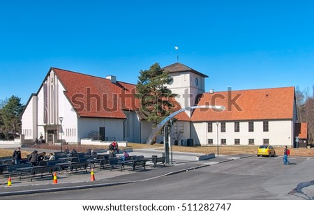 OSLO, NORWAY - APRIL 12, 2010: People near The Viking Ship Museum and Archeological Monument. Located on Peninsula Bygdoy.