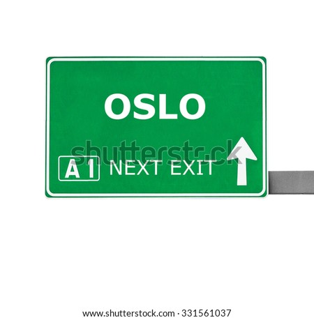 OSLO road sign isolated on white