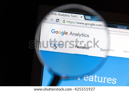 Ostersund, Sweden - May 23, 2016: Google Analytics website under a magnifying glass. Google Analytics is a web analytics service offered by Google.