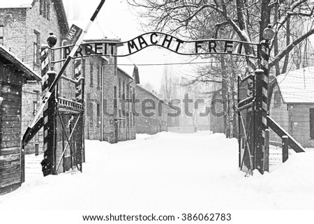 OSWIECIM, POLAND - DECEMBER 28, 2010: Sing Arbeit macht frei (Work liberates) in Auschwitz II Birkenau concentration camp located in the west of Krakow