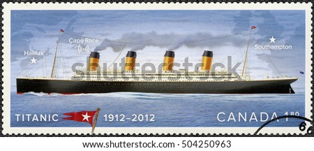 OTTAWA, CANADA - APRIL 05, 2008: A stamp printed in Canada shows shows Titanic, White Star Line, Titanic Centenary 1912-2012