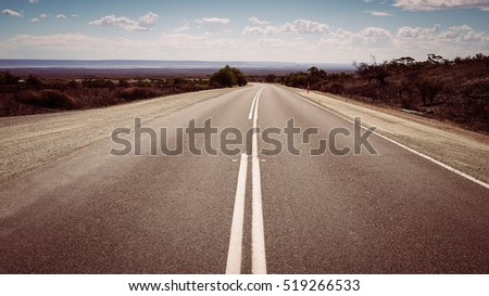 Outback road to Port Augusta in the Flinders Ranges, South Australia