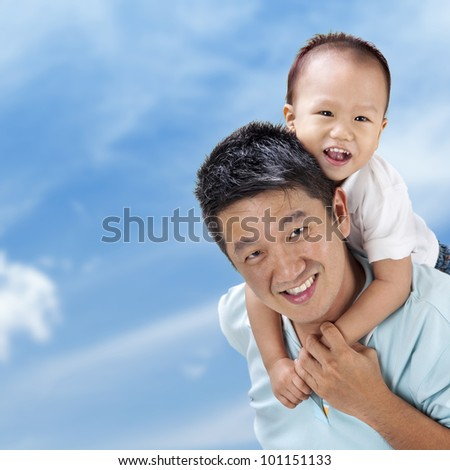 Outdoor Asian family over blue sky