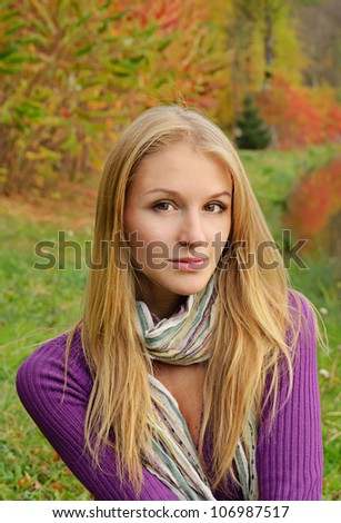 Outdoor autumn  portrait of beautiful girl