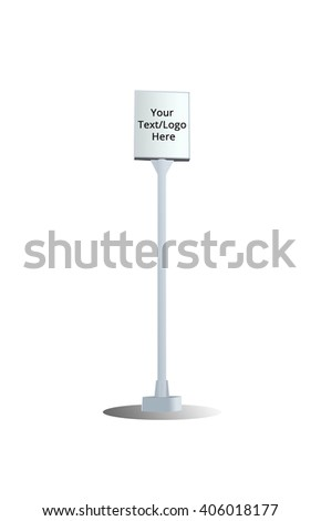 outdoor commercial stand pillar with metallic panel and shadow for your logo/text advertising (Open sans regular fonts from google fonts commercial use able) (have clipping path and isolated mode)