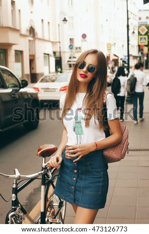 outdoor fashion portrait young stylish stunning stock