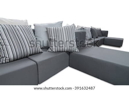 Outdoor indoor sofa with water resistant cushions and pillows