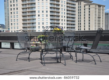Outdoor Rooftop Urban Iron Deck Patio Furniture High Rise