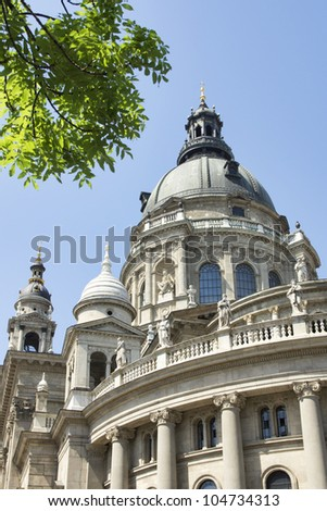 Outdoor shot of St. Stephen's Basilica, Budapest, Hungary