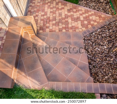 Outdoor staircase from clinker stone