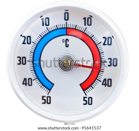 Cartoon Temperature Gauge Showing Cold Colder Stock