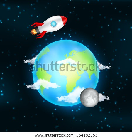 Earth space moon rockets satellite stars stock vector for Outer space elements