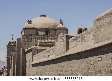 Outer wall, dome and tower of Santa Catalina Monastery, Arequipa, Peru