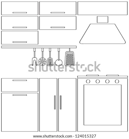 Outline Kitchen Silhouette Stock Illustration 119679967 ...