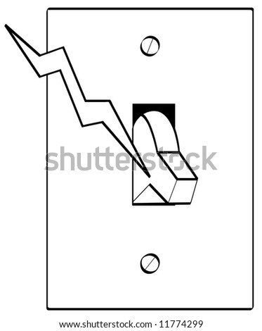 Outline electrical light switch bolt electricity stock vector outline of electrical light switch with bolt of electricity sciox Gallery