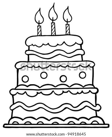 Happy Birthday Cake Outline