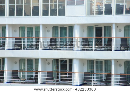 Outside cruise ship cabins on a middle size cruise ship