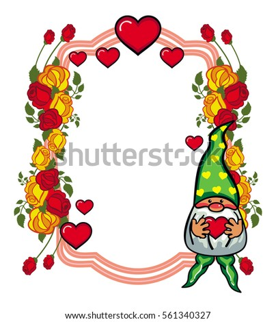 Oval label roses cute gnome holding stock illustration 561340102 oval label with roses and cute gnome holding heart design element for holiday decorations bookmarktalkfo Image collections
